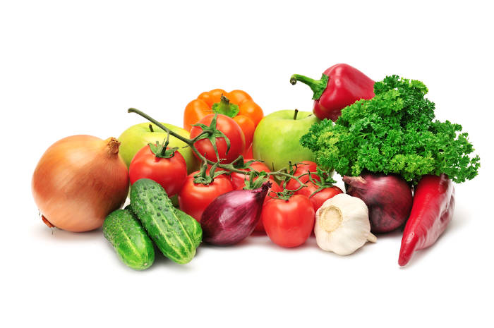 A selection of healthy fruits and vegetables